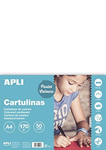 APLI 14229 - Cartulina 170g A4 50 hojas, color blanco