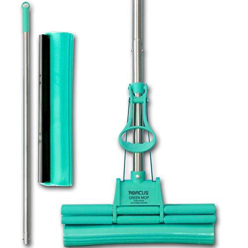 ABACUS Green MOP Set 30-01 (6061) 30 cm Mopp + Stiel + 30cm Ersatzschwammm - Doppelwringer saugstarker Wischmop PVA Bodenwischer Wringmop GreenMop Wischmopp Wringmopp 4-Rollen Doppelwringsystem