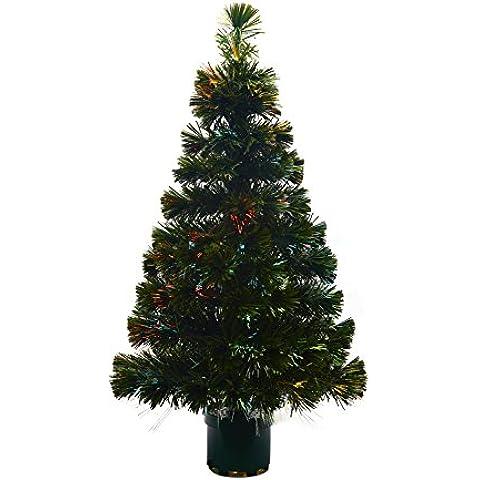 Youseexmas - Albero di Natale in fibra ottica con luci colorate, altezza 120 cm, colore: (Vaso Albero Di Natale)