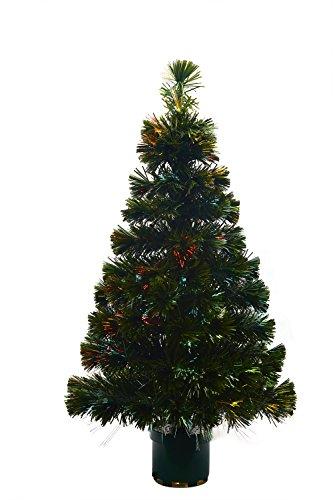 Youseexmas - Albero di Natale in fibra ottica con luci colorate, altezza 120 cm, colore: verde