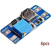 Bobury 6PCS MT3608 DC regulador de Voltaje Step Up Boost convertidor de alimentación Módulo 2V-24V a 5V-28V 2A