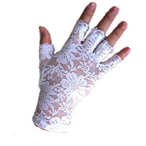 uhe Spitze Braut Fingerlos Handschuhe Party Hochzeit (Weiße Spitze Fingerlose Handschuhe)