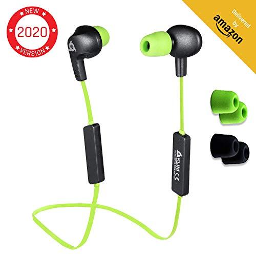 KLIM Pulse Bluetooth 4.1 In-Ear Kopfhörer 2019 Version Kabellose Kopfhörer – Geräuschreduzierung – Perfekt für Sport, Musik, Anrufe, Gaming - Magnetisch Memory Schaum Ohrstöpsel Grün thumbnail
