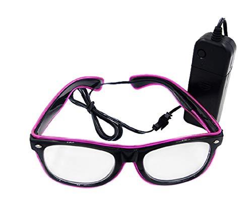 UTOVME EL Leuchtbrille Party Club LED Leuchten Brillen Partybrille Eyeglasses Nicht blendet mit Batterie Box Violett