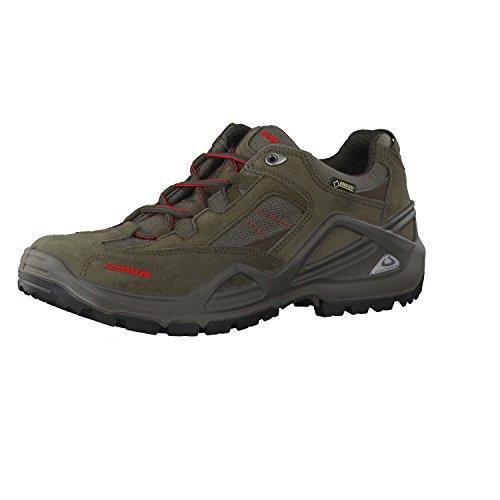 Lowa, scarpe da trekking e da passeggio da uomo Sirkos GTX M, Grigio (schiefer/rot (7940)), 41 EU / 7 UK