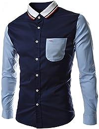 1b02e0c6 SODIAL(R) New Patchwork Unique Neckline Mens Dress Shirts Men Shirt Long  Sleeve Slim Fit Social Shirts For Men…