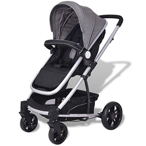 Festnight 2-in-1 Buggy Kinderwagen Klappbar Kindersportwagen Aluminium Praktische für Kinder bis zu 15 kg - Grau und schwarz