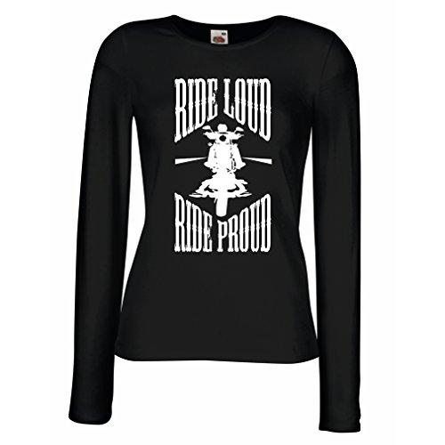 Maniche Lunghe Femminili T-Shirt Ride Loud! (Small Nero Multicolore)
