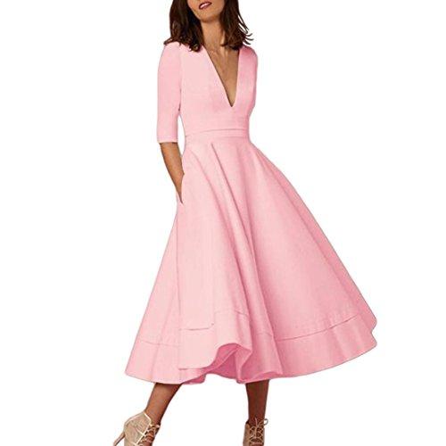 n, DoraMe Frauen Abend Party Kleid V Hals Swing Kleid Halbe Ärmel Feste Farbe Kleid (Rosa, M) (Rosa Kleid Weiße Schuhe)