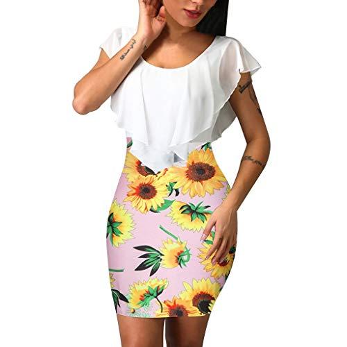 XuxMim Damen Casual Langes Shirt Lose Tunika Kurzarm T-Shirt Kleid 24 Farbe,XXS-XXXXXL(32-50)(Rosa,Large)