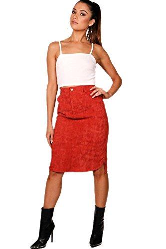 Femmes Rouge brique jupe Midi en velours côtelé à ourlet arrondi Emily - 6