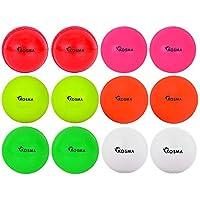 Kosma - Juego de 12 pelotas de críquet de viento para entrenamiento, deportivas y al aire libre, en una bolsa de transporte de malla (2 unidades cada una), color amarillo, rosa, rojo, verde, blanco y naranja.