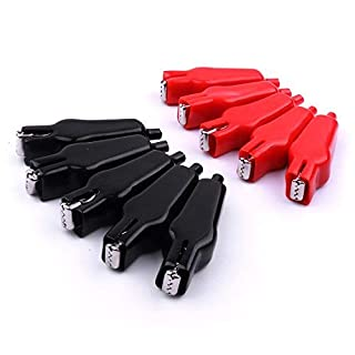 ATOPLEE 10 Pairs 20A Insulated Clip Alligator Test Clamp Black Red
