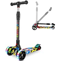 COOLBABY Kid's scooter 3-wheel mini adjustable foot scooter, height-adjustable PU with LED light wheels, best for gifts for children from 3 to 12 years old