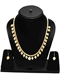 Eshopitude American Diamond Filled Gold Plated Net Chain With Pearls Drops Necklace Jewellery Set