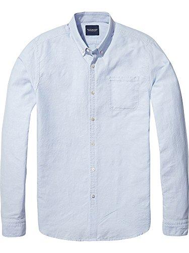 Scotch & Soda Herren Langarmshirt Ams Blauw Classic Denim Inspired Slim Fit Oxford Shirt in SE Blau (Tigre Blue 1307)