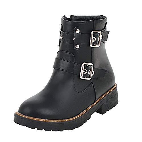 Lanskrlsp stivali invernali donna impermeabili stivaletti stringati con tacco alto, scarpe con plateau con fibbia stivali con cerniera casuale scarpe da passeggio stivali