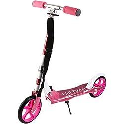 Homgrace Trottinette Pliable Enfant Trottinette en Aluminium Réglable en Hauteur - Big Wheel (Rose)