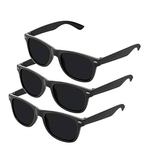 Nerd Sonnenbrille im Klassiker Stil Retro Vintage Unisex Brille - Boolavard TM, 3er pack Schwarz