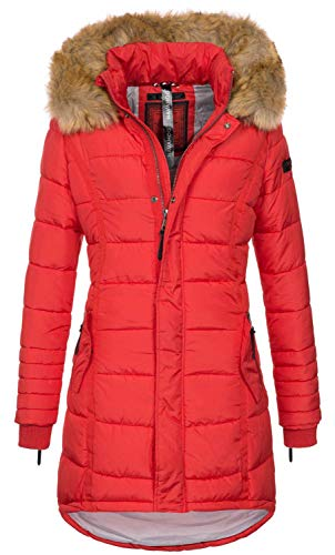 Navahoo Papaya Damen Winter Jacke Steppjacke Mantel Parka gesteppt warm B374 [B374-Rot-Gr.XL]