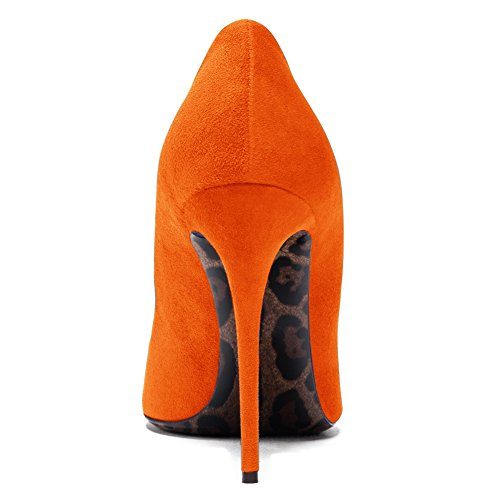 Damenschuhe Pumps Spitze Zehen Stiletto High Heel Leopard Sohle Rutsch Dress Party Hochzeit Orange