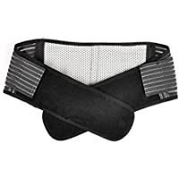 Pixnor portatile regolabile infrarossi auto-riscaldamento magnetoterapia vita posteriore supporto ortesi lombare cintura doppia trazione cinghia elastica abbassare il dolore Massaggiatore - taglia L (nero)