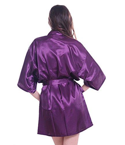Femmes Kimono Satin Robe courte Lingerie v¨ºtements de nuit pour demoiselle d¡¯honneur Violet