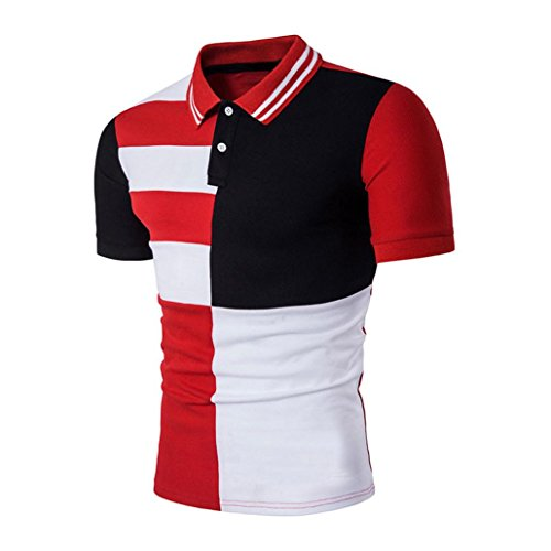 Herren Shirt Polo Kurzarmshirt Polohemden Slim Fit Kurzarm T shirt Männer Freizeit Hemd Btruely (S, Rot) (Golf Hoffe, Shirt)