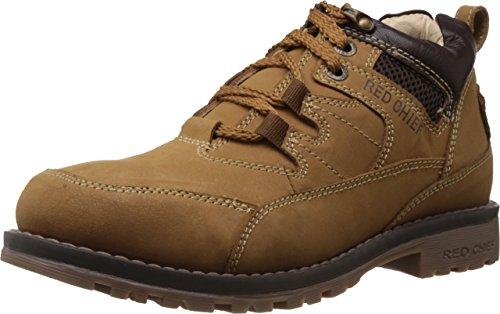 Redchief Men's Dark Brown Leather Trekking And Hiking Footwear Shoes