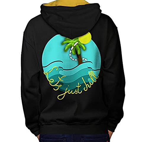 Chill Palm Travel Holiday Men L Contrast Hoodie Back | Wellcoda