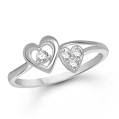 VK Jewels Admirable Dual Heart Rhodium Plated Alloy Ring for Women & Girls Made With Cubic Zirconia- FR1653R [VKFR1653R8]