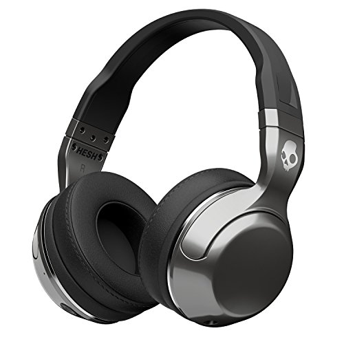 Skullcandy Hesh 2.0 Over-Ear Wireless Bluetooth Kopfhörer mit Mikrofon und Lautstärkeregelung - Silber/Schwarz/Chrom Ear-bud-ohr-clips