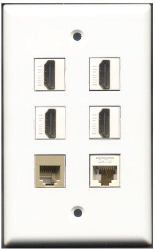 RiteAV-4-Port HDMI-1-CAT6Netzwerkkabel (RJ11, RJ12, beige 1weiß Wall Plate 6 Port Flush