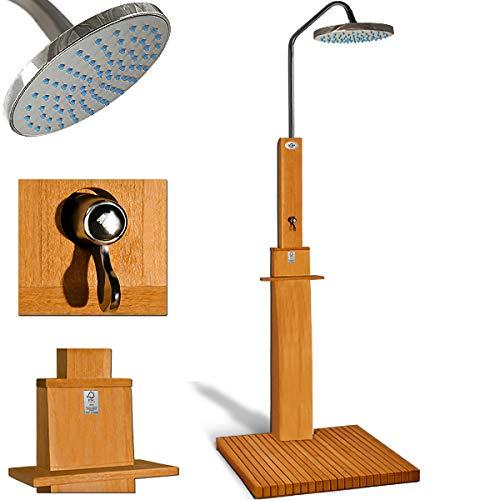 Gartendusche Sauna Dusche Pooldusche   FSC-zertifiziertes Eukalyptus Holz   Duschkopf mit 2 Komponentensystem