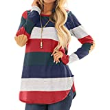 Ieason Women Top, Women Casual Striped O-Neck Long Sleeve Patchwork Tops Blouse Shirt
