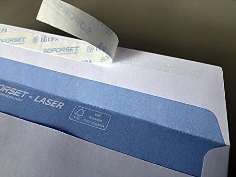 100 Briefumschläge mit Fenster, DIN lang = 220 x 110 mm, mit Laser bedruckbar, hitzefestes Folienfenster, Geschäftsumschläge, Fensterumschläge mit Abziehstreifen