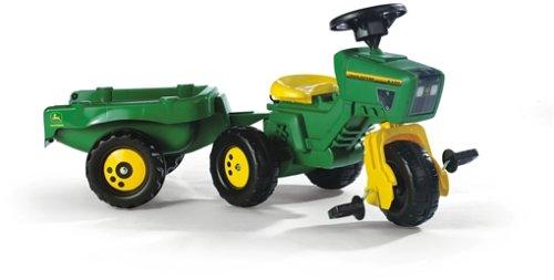 *Rolly Toys 052769 Dreirad rollyTrike John Deere mit Anhänger rollyKid Trailer | Pedalkurbel | Pro Stabil | mit Hupe | für Kinder von 2 ½ – 5 Jahren | Farbe grün/gelb | TÜV/GS geprüft*