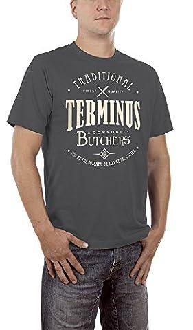 Touchlines Herren T-Shirt Terminus Butchers Grau (Darkgrey 17), XX-Large (Fun Schule Halloween Kostüme)