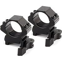 UniqueFire 25.4mm montaggio anello per 20mm Weaver/Picatinny/Rail Mount con rapidi Staccare Serrature (2 pezzi)