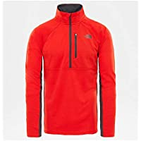 The North Face M Zip Camisa de Manga Larga con Cremallera de 1/4 Ambition, Hombre, Fiery Red Heather, L