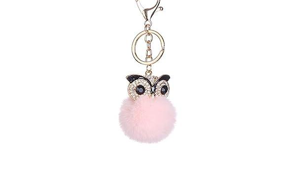 10cm Cute Pompom Fluffy Owl Keychain Faux Rabbit Fur Ball Keyring Women Bag  Charm Trinket Car Pendant (pink)  Amazon.co.uk  Car   Motorbike 919882a21cb28