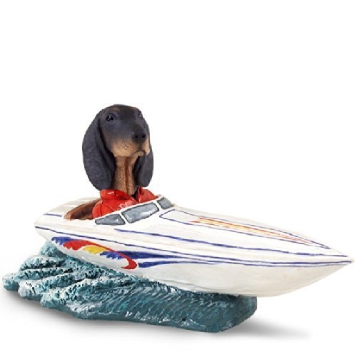Coonhound Black & Tan Motorboat Doogie Collectable Figurine by CON