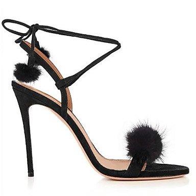 LFNLYX Sandales femmes Printemps Été Automne Club Chaussures à bride Fleece Mariage & robe de soirée boucles et g-pom-pom Black