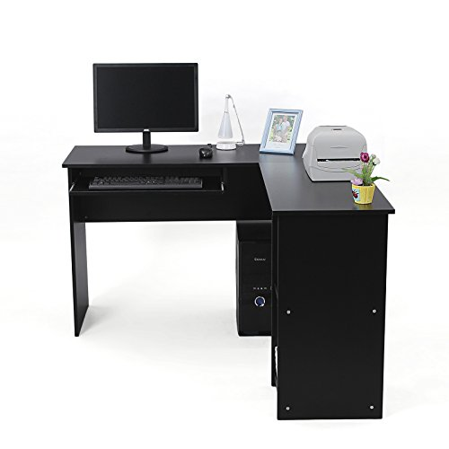 Songmics L-Shaped Office Computer Desk Large Corner PC Table with Sliding Keyboard and 2 Shelves for Home and Office Use,140 x 120 X 75 cm,Black LCD810B