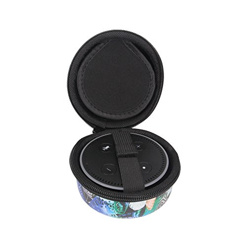 Haodasi Neu Reisen Portable Tragen Hart Hülle Kasten Tasche Beutel Case Cover Bag Box Shell Pouch Holder für Amazon All-New Echo Dot 2nd generation (Extra room for USB Cable&Charger)