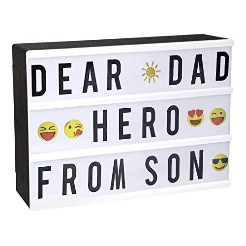 StillCool Kino Box A4 LED Kino Licht mit 96 Buchstaben, 85 bunte Emojis, leicht Box, beleuchtet zum Dekorieren von Geburtstag/Familie/Geschäft