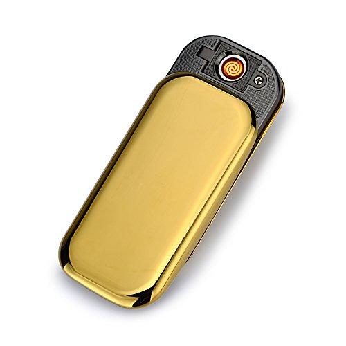 USB Elektronisches Ber&uumlhren Feuerzeuge Windfest Elektronisch Zigarre Zigarette Feuerzeug Aufladbare (Gold)