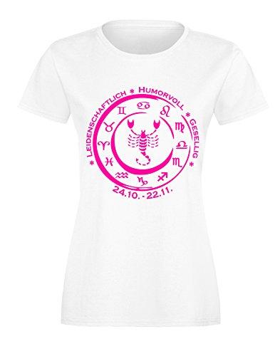 Sternzeichen Skorpion - Astrologie - Damen Rundhals T-Shirt Weiss/Neonpink