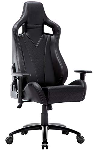 Amoiu Racing Gaming Stuhl, Ergonomischer Bürostuhl, Computer Stuhl mit Hoher Rückenlehne, Kunstleder Schreibtisch Stuhl mit Stromlinienförmigem Muster(Grau) -