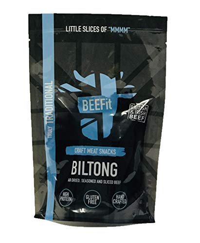 BEEFit Snacks 500g Traditionelle Biltong, Hohes Protein, Gesund, Wenig Zucker, Nicht Beef Jerky